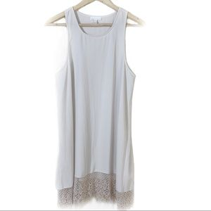 LEITH Anthropologie Ecru lace trimmed shift dress